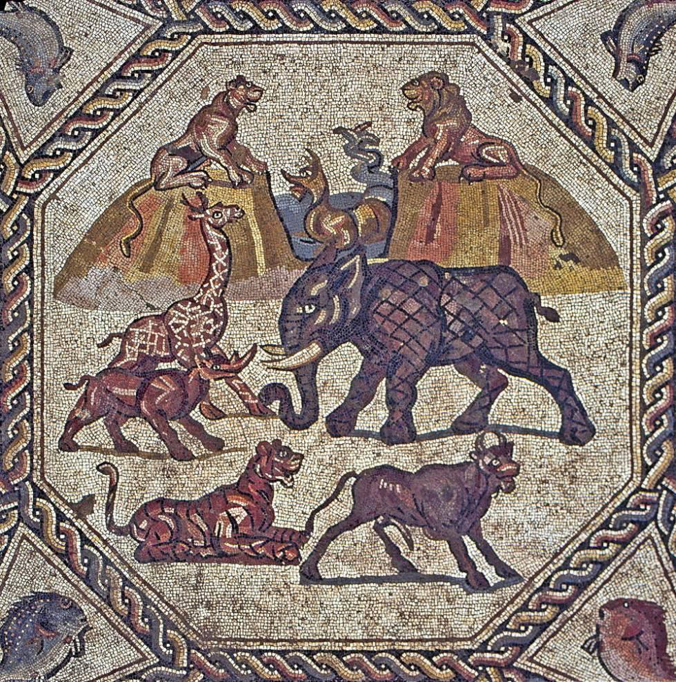 Detalle de los motivos centrales del mosaico romano hallado en Lod.
