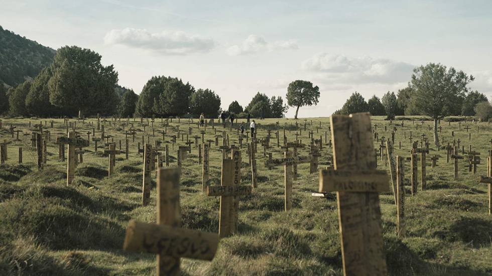 Crosses at Sad Hill cemetery.