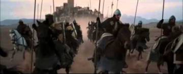 A scene from Kingdom of Heaven with Loarre castle in the background