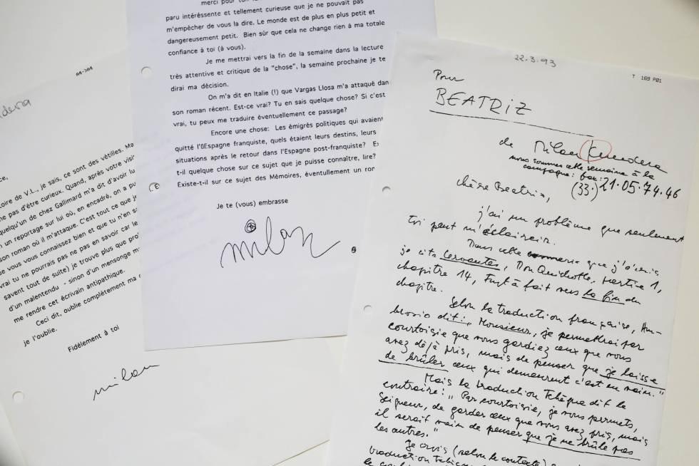 Correspondencia de Beatriz de Moura con Milan Kundera.