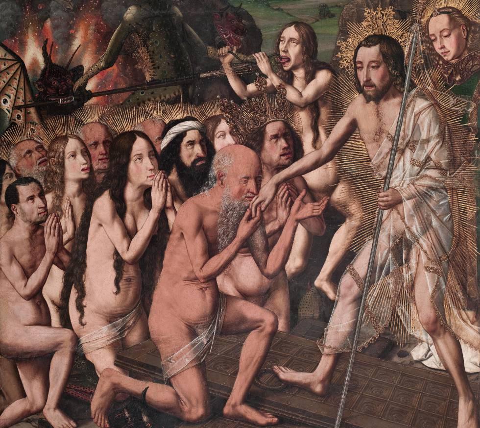 Adán, Eva y otros personajes del Antiguo Testamento en el Descenso de Cristo al Limbo (hacia 1475).