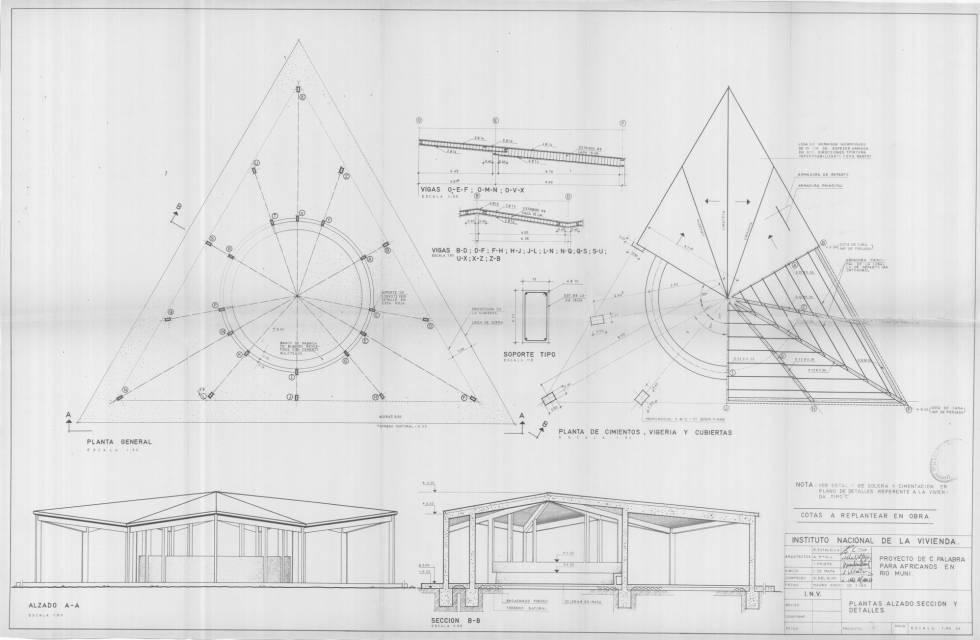 Planos realizados para la construcción de una Casa de la palabra en Machinda.