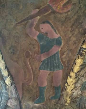 Restauración de la figura de Sansón.