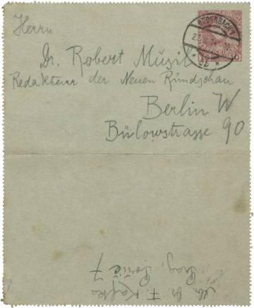 Sobre de una de las cartas que Frank Kafka envía a Robert Musil a la redacción de la revista 'Die Neue Rundschau'.