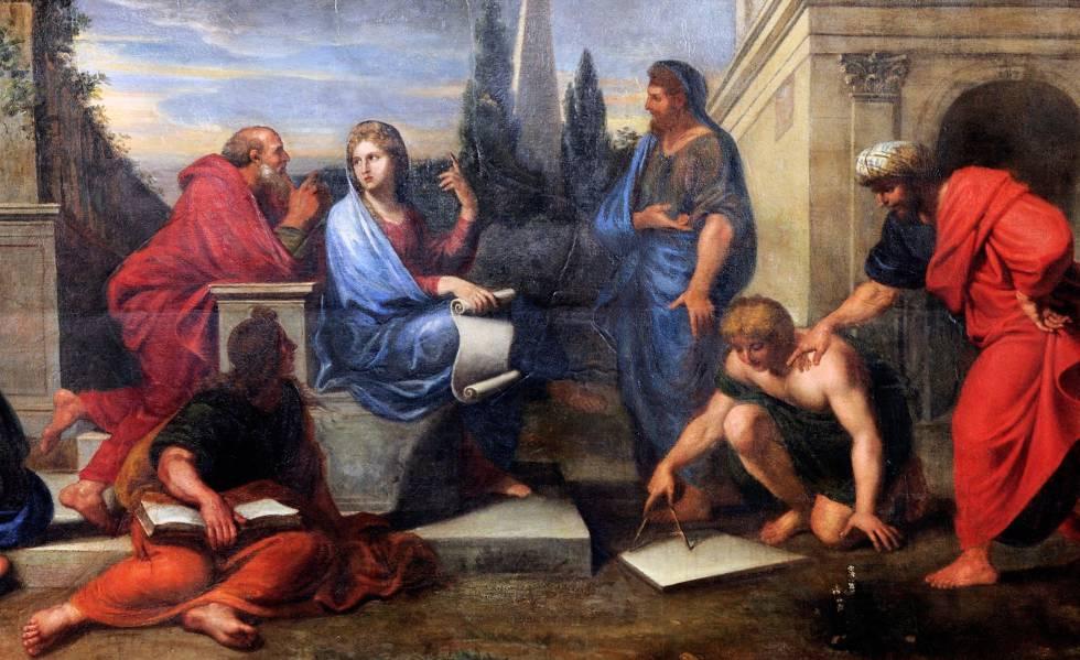 Pintura a óleo 'Aspásia rodeada de filósofos gregos', de Michel Corneille.