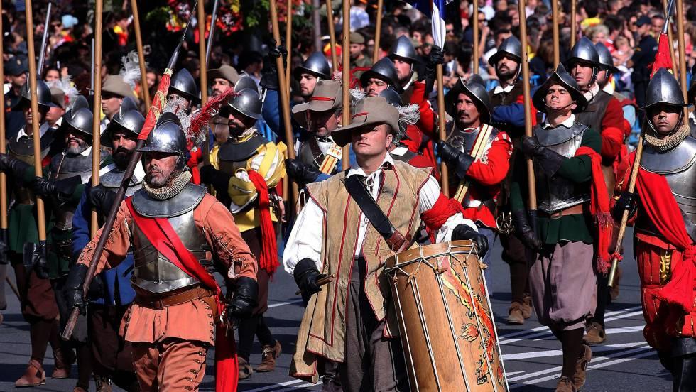 Recreación de los Tercios de Flandes en el desfile de las Fuerzas Armadas en 2017 en Madrid.