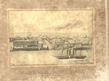 Grabado del siglo XIX de La Habana del francés Frédéric Mihale.