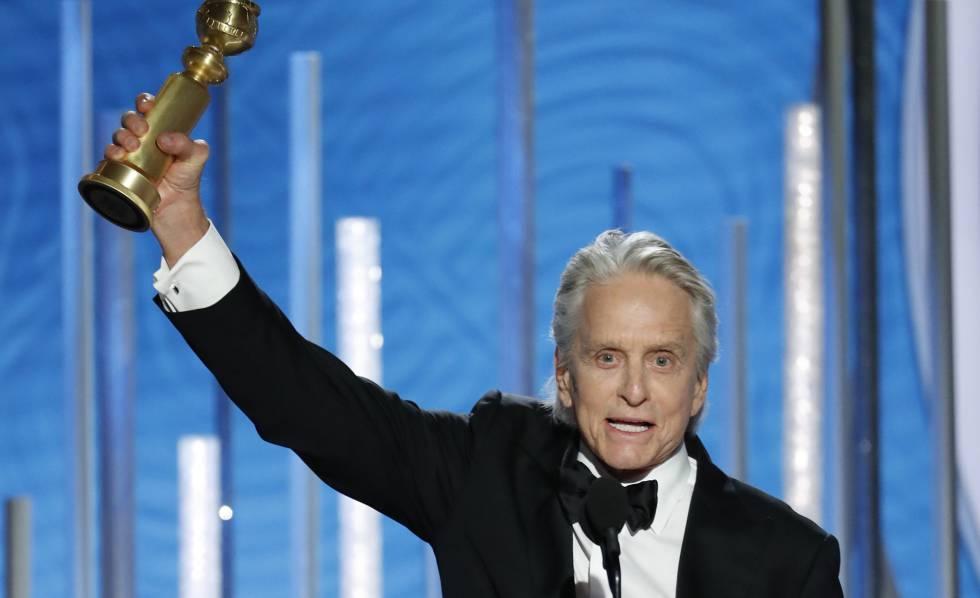 Michael Douglas, tras ganar el Globo de Oro al mejor actor de una serie musical o comedia por 'El método Kominsky'.