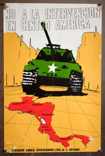 Poster de la Federación Sindical Revolucionaria de El Salvador en contra de la intervención de Estados Unidos.