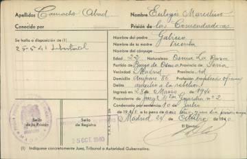 Ficha carcelaria de 1940, la primera vez que Marcelino Camacho ingresó en prisión, en la cárcel de Las Comendadoras (Madrid).