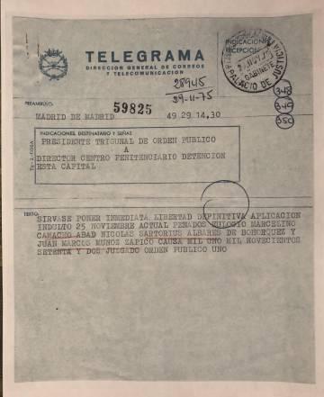 Telegrama de 1975 en el que se comunica el indulto a los dirigentes de CC OO tras el famoso Proceso 1001, en el que la dictadura juzgó a los principales dirigentes del sindicato.