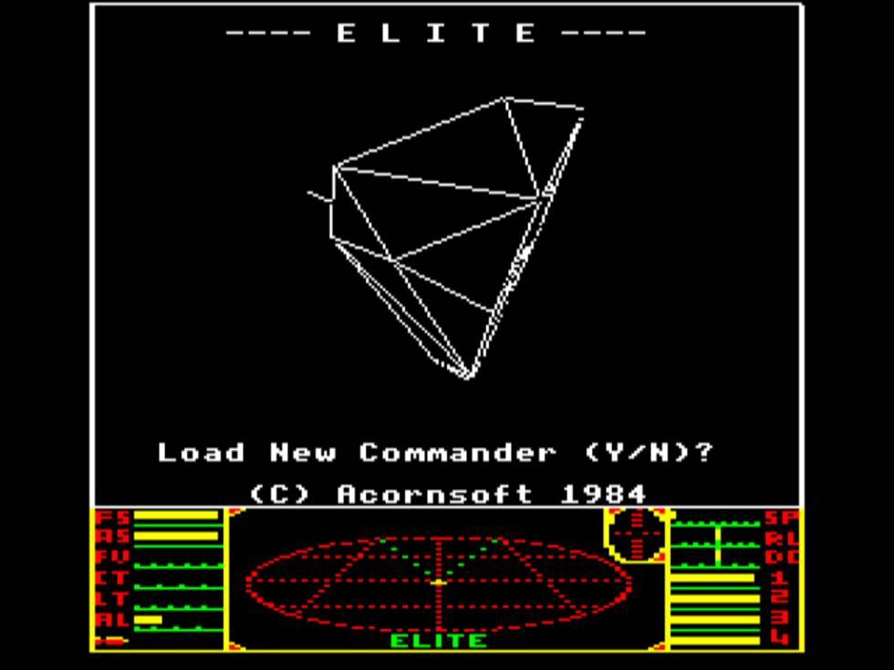 Imagen del primer videojuego de David Braben, 'Elite'.