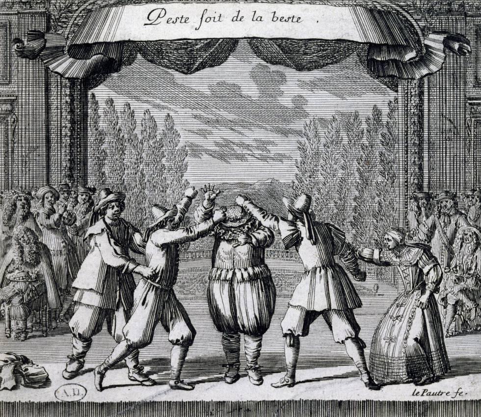 Escena de una obra de Moliere (1622-1673). Grabado por Jean Le Paultre (1618-1682). Francia, siglo XVII.