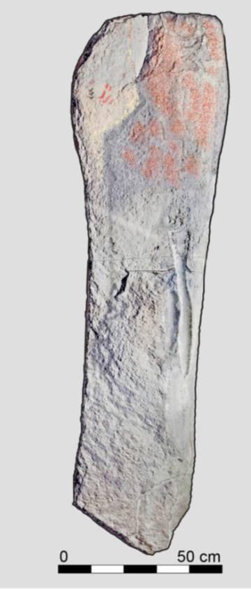 Dibujo del personaje armado con espada del Bronce Final en el dolmen de Soto.