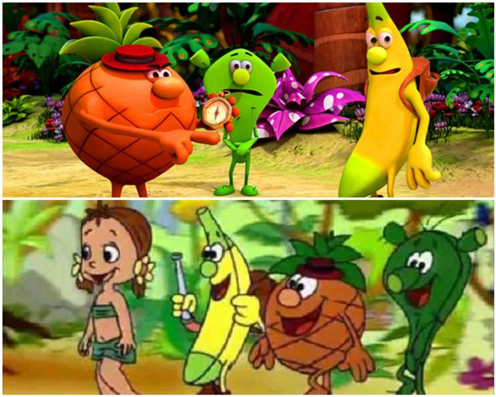 Arriba, 'Los Fruittis' en su versión renovada. Abajo, los personajes originales.