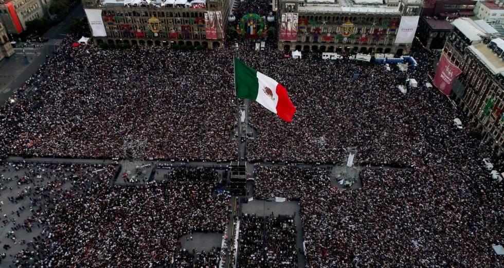 El Zócalo durante la toma de protesta de López Obrador.