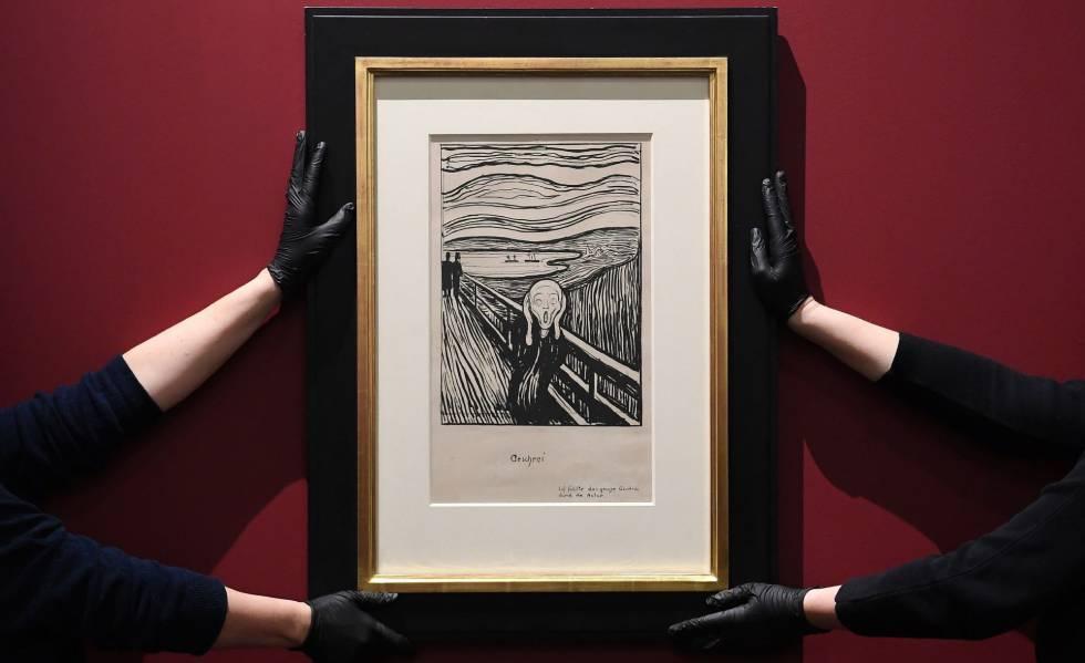 Litografía 'El grito', del artista noruego Edvard Munch, en el Museo Británico de Londres