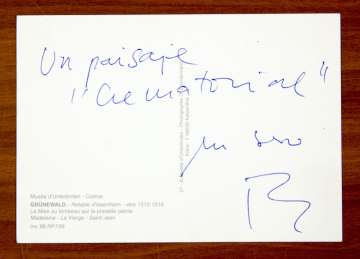 Postal de Rafael Chirbes con un