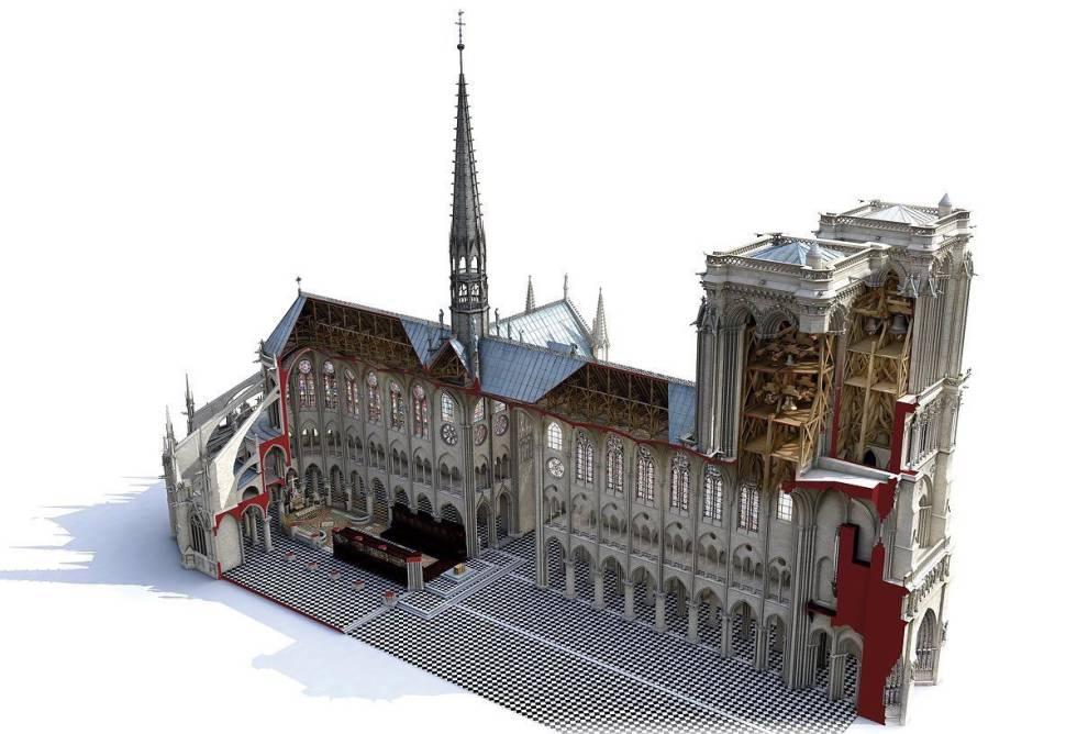 Reconstrucción en 3D de la estructura interior de la catedral de Notre Dame elaborada por la empresa Art Graphique y Patrimoine.