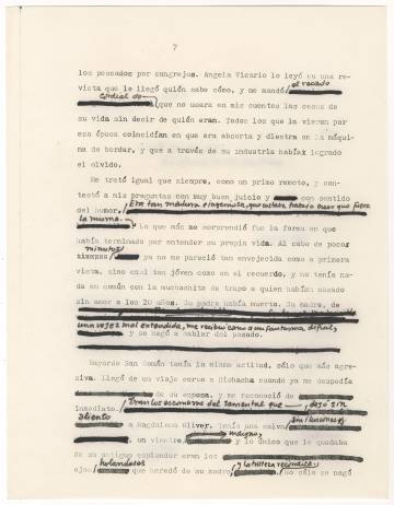 Borrador mecanografiado y con correcciones de Gabriel García Márquez del epílogo de 'Crónica de una muerte anunciada'. 1980.