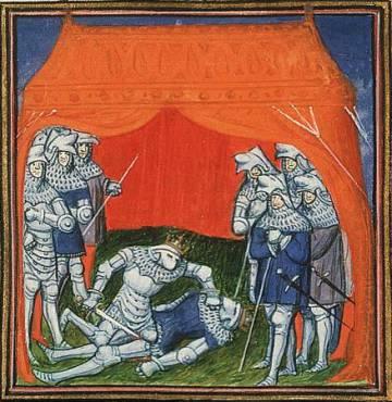 Miniatura con la muerte del rey Pedro a manos de su hermanastro.