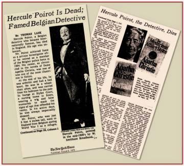 La noticia de la muerte de Poirot en 'The New York Times' el 6 de agosto de 1975.
