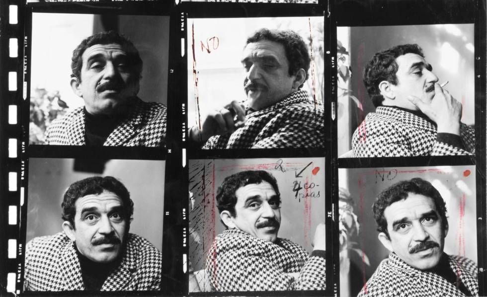 Hoja de contactos de la sesión fotográfica de García Márquez en 1966.