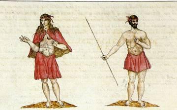 Indígenas de La Gomera, según ilustración de Leonardo Torriani (1592).
