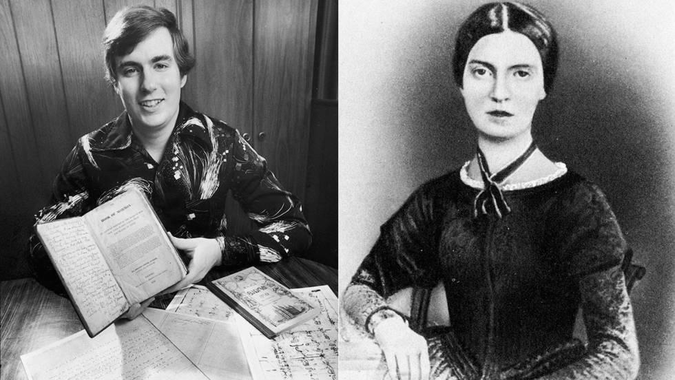 A la izquierda, Mark Hofmann en 1984. A la derecha, Emily Dickinson en 1846.