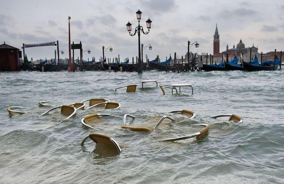 Venecia durante una subida del nivel del agua de la laguna el 11 de noviembre de 2011.