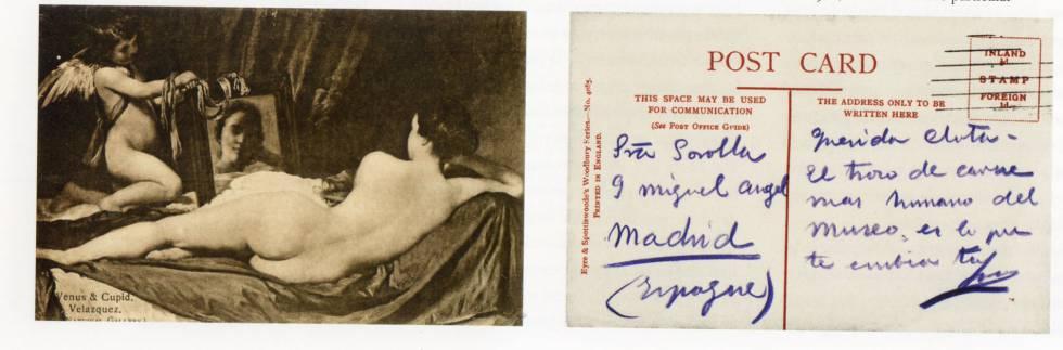 Postal enviada por Sorolla a su mujer, Clotilde, desde Londres.