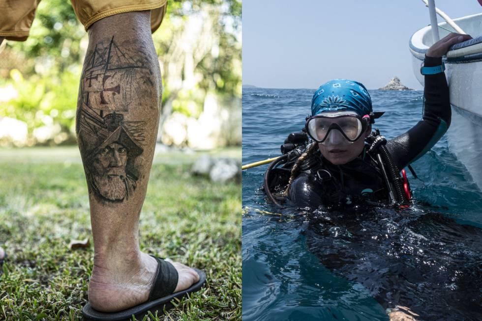 A la izquierda, el tatuaje del conquistador y los barcos de Horrell. A la derecha, Damour, en el agua.
