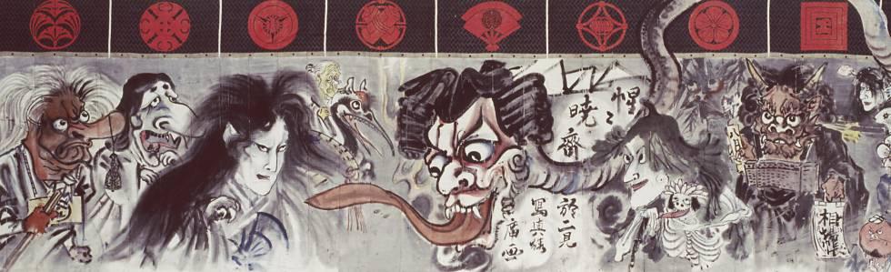 Cortina de un teatro Kabuki de 17 metros de Kawanabe Kyosai (1831-1889).