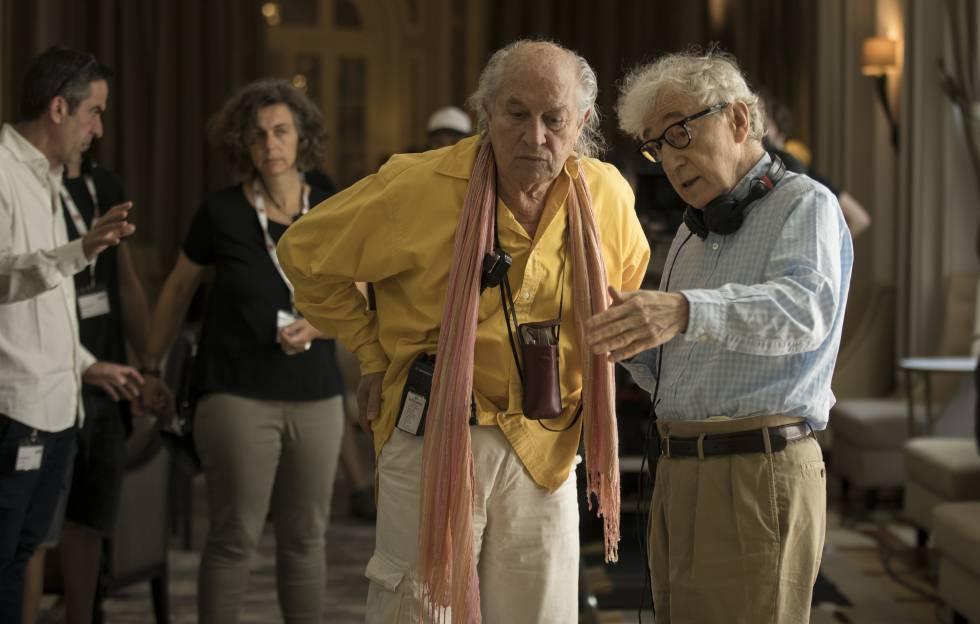 Allen dialoga con el director de fotografía Vittorio Storaro.