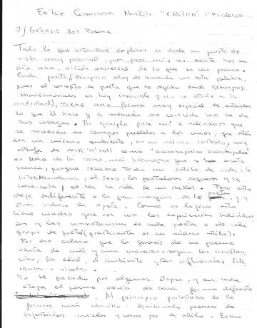 Punto 7, 'Génesis del poema' del último examen del poeta
