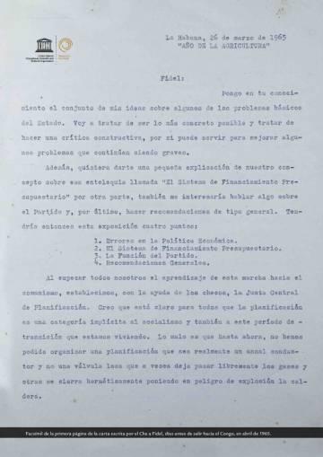 Primeira página de uma missiva a Fidel Castro desse mesmo ano.
