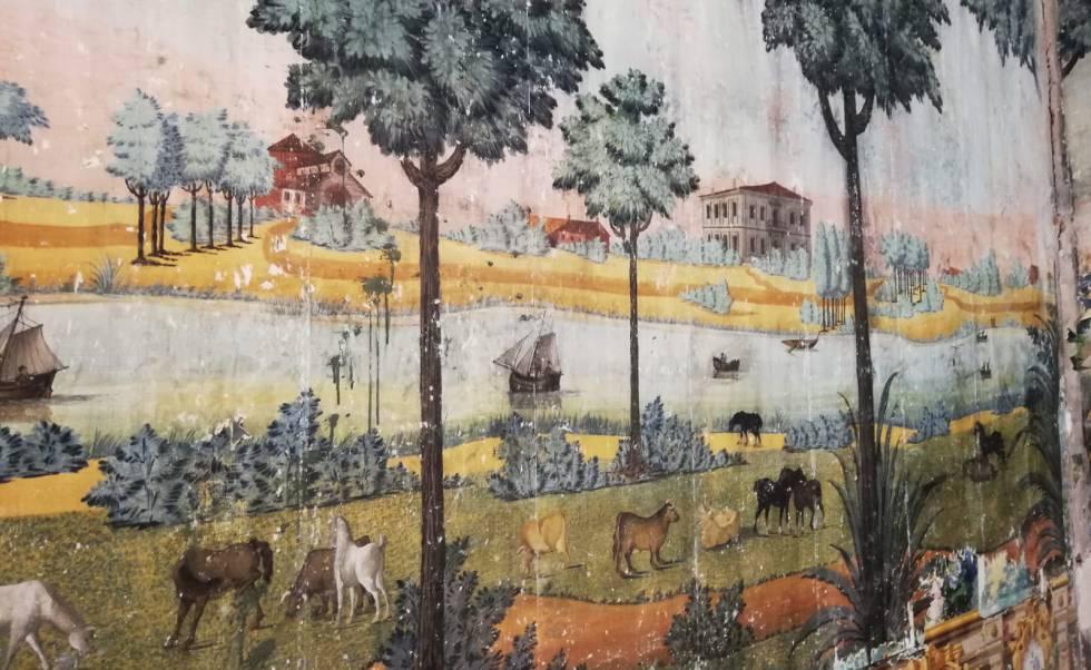 Paisaje mural recién descubierto en las paredes del palacio almagreño de los Torremejía.