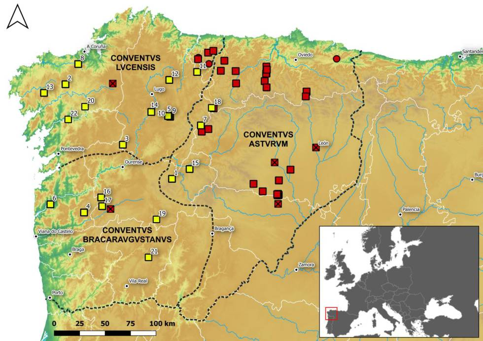 In yellow, the 22 camps located in the northwest. The squares correspond to camps, the circles to 'castella' and those that have a cross to fortresses.