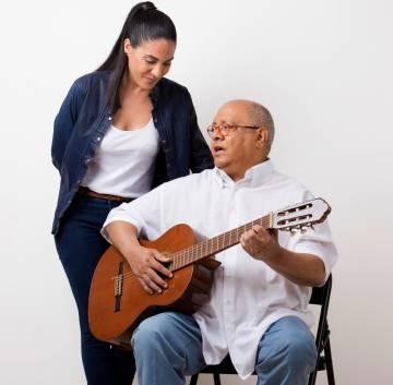 Cuban singer Haydée Milanés with her father, Pablo Milanés.
