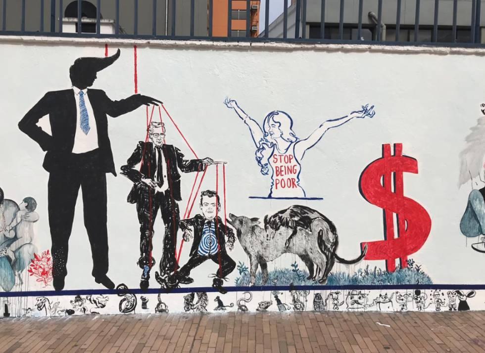 Parte del mural que fue borrado en Bogotá
