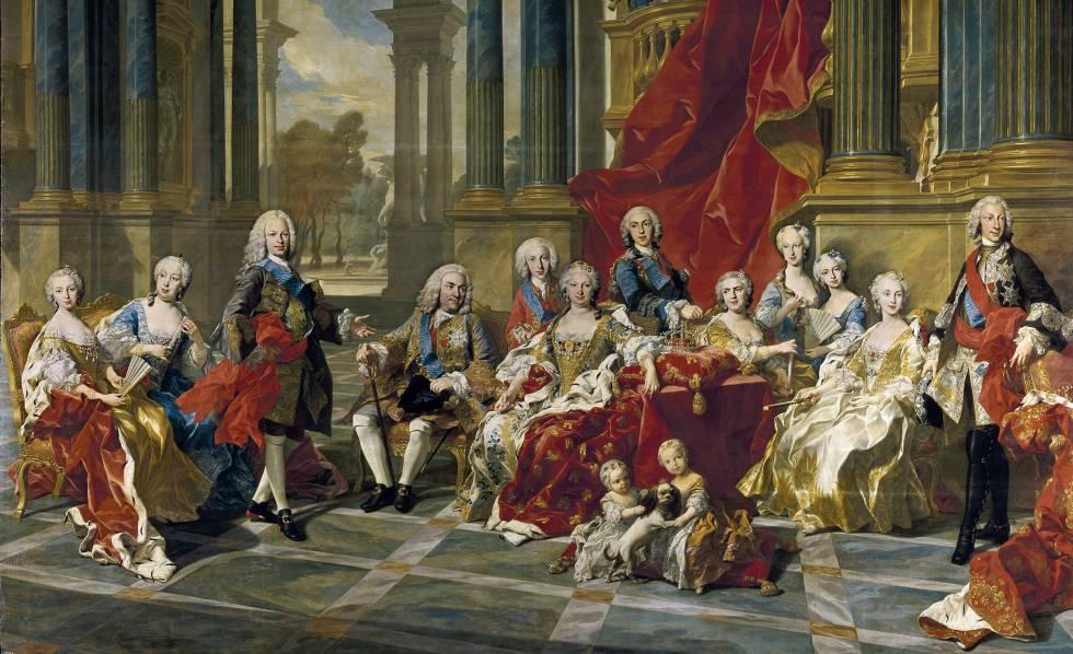 'La familia de Felipe V' (1743), cuadro de Louis-Michel van Loo.