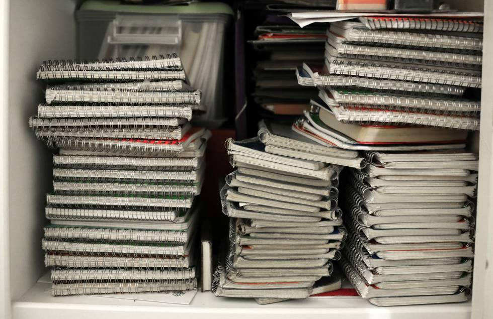 Shelf with her wreckbooks.