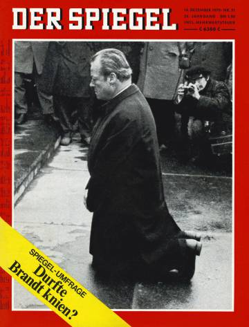 Portada Der Spiegel con Willy Brandt arrodillado durante su visita al gueto de Varsovia.