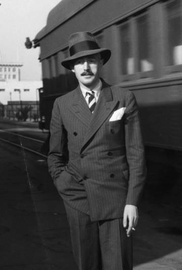 The writer Dashiell Hammett, at a train station in Hollywood.