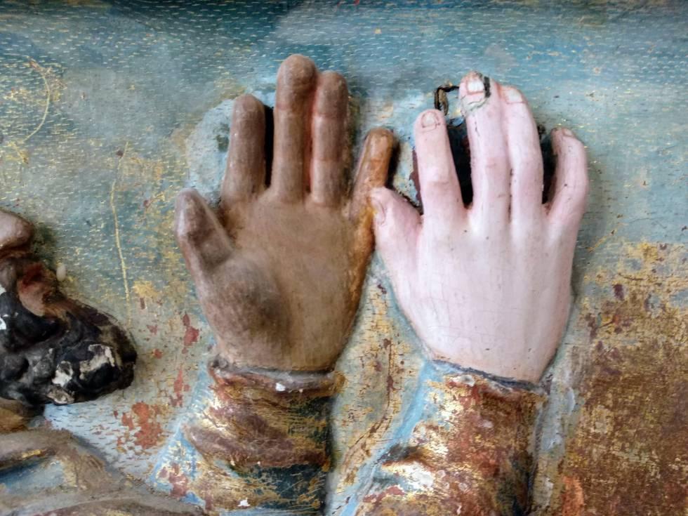 Proceso de restauración de uno de los pasajes del retablo de Quintanilla de Riofresno.
