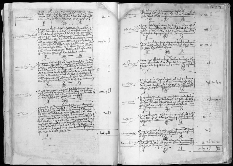 Acta de la Casa de Contratación, con la firma de Vespucci, donde se le paga 6.666 madaveríes por sus servicios como piloto.