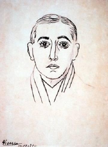 Vicente Huidobro en un dibujo de Pablo Picasso.