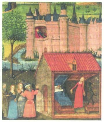 Escena de la 'Historia de Merlín'. Siglo XIV.