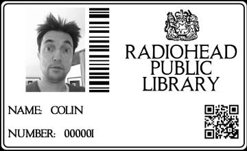 The membership card of Colin Greenwood, one of the members of Radiohead.