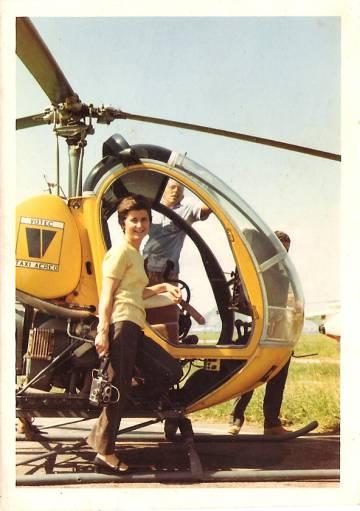 Benedicta Sánchez, in a helicopter in Rio de Janeiro in 1971.